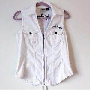 Harley-Davidson white denim embellished zipup vest